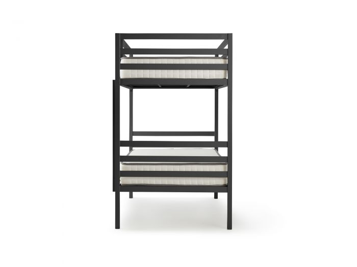 Academy Grey Metal Bunk Bed - End View