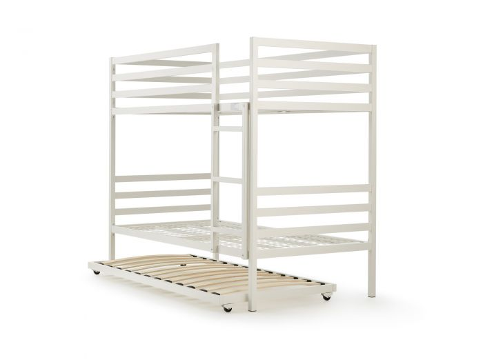 Academy White Metal Bunk Bed With Trundle | Now On Sale | Bedtime.