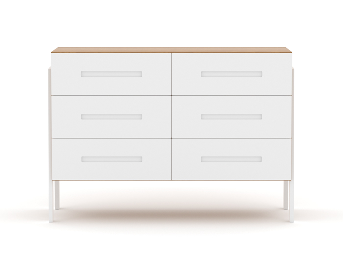 Kaspar Two Tone Six Drawer Dresser