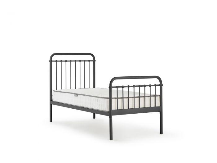 Loft Graphite Metal Single Bed | Bedtime.
