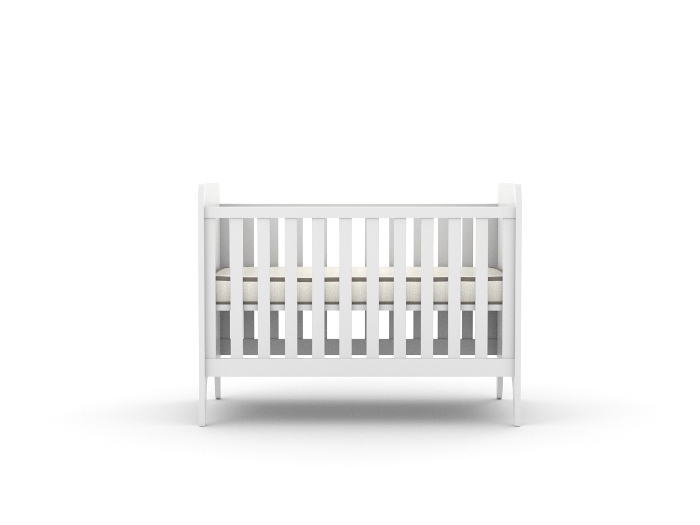 Oskar White Cot _ Front View Mattress Up