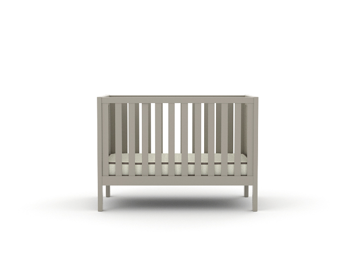 Soho Grey Wooden Cot - Front View